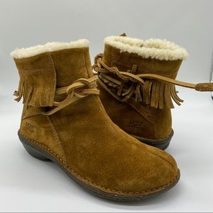 Ugg Gaviota Brown Leather Winter Ankle Boots